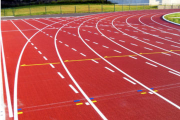 Rubber pavements for athletic runways and gyms