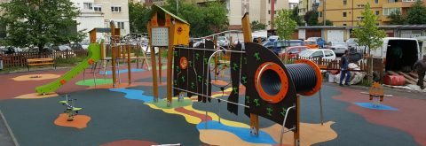 Rubber pavements for public playgrounds